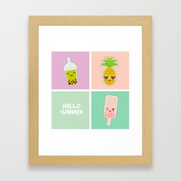 Hello Summer bright tropical card, pineapple, smoothie cup, ice cream, bubble tea. Kawaii cute face. Framed Art Print