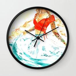 She is the Sea - Risa Marie Bohemian Ocean Goddess Wall Clock