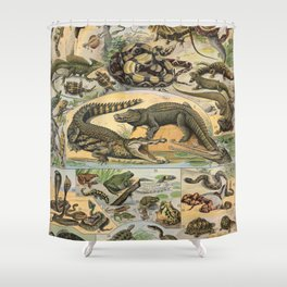 Reptiles Poster Vintage Shower Curtain