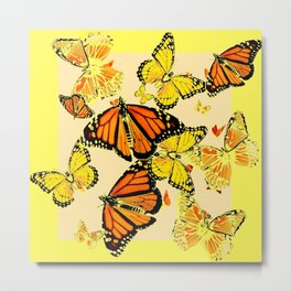 SOFT YELLOW & ORANGE MONARCH BUTTERFLIES MELANGE Metal Print