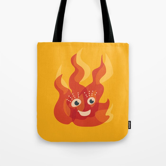 Happy Burning Cartoon Fire Tote Bag