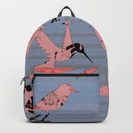 Pink birds, denim stripe Backpack