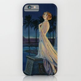 Melody of Ancient Egypt Art Deco romantic female figure by the River Nile painting by Henry Clive iPhone Case