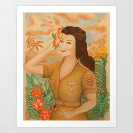 "Soldier Girl, ""TRUE BLUE"" Art Print"