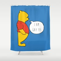 pooh Shower Curtains featuring WINNIE THE POOH by DrakenStuff+