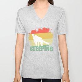Retro Sleeping T Shirt Unisex V-Neck
