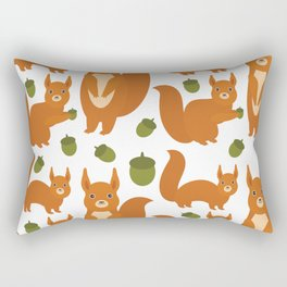 Seamless pattern Set of funny red squirrels with fluffy tail with acorn  on white background Rectangular Pillow