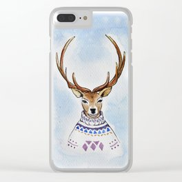 Deer in sweater Clear iPhone Case
