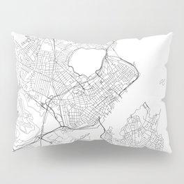 Portland Maine White Map Pillow Sham