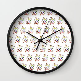 Christmas doodle pattern Wall Clock