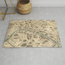 Vintage Pictorial Map of Paris France (1871) Rug