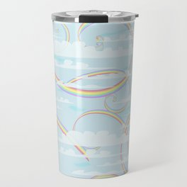 Rainbow Swirls with Clouds Travel Mug