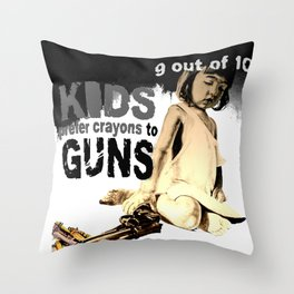 KIDS prefer crayons - black version Throw Pillow