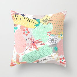 Modern creative abstract floral paint Throw Pillow