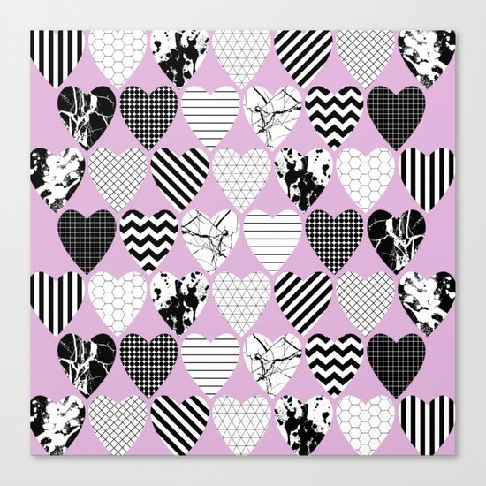 Hearts And Love - Black and white, geometric Pattern Canvas Print
