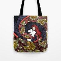 depression Tote Bags featuring Depression Repression by Danielle Quackenbush