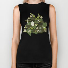 Indoors & outdoors (green camo) Biker Tank