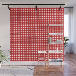 Red Gingham Wall Mural