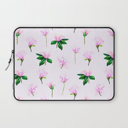 Sweet Petite Pink Floral Pattern With Contemporary Leaves Laptop Sleeve