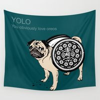 yolo Wall Tapestries featuring YOLO by Huebucket