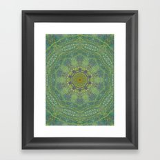 liquid green mandala? Framed Art Print