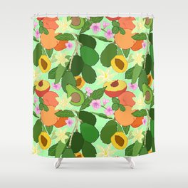 Avocado + Peach Stone Fruit Floral in Mint Green Shower Curtain