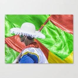 Costume Man and Flags at Carnival Parade of Uruguay Canvas Print