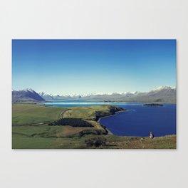 She felt tiny in Lake Tekapo Canvas Print