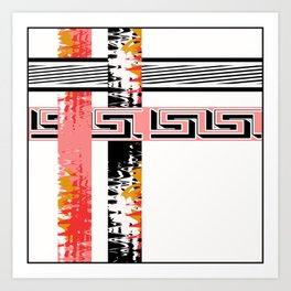 Vintage .Art . Intertwining colored bands . Art Print