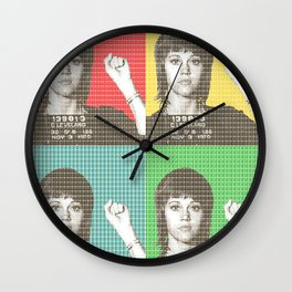 Jane Fonda Mug Shot x 4 Wall Clock
