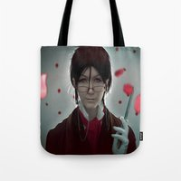 kuroshitsuji Tote Bags featuring Sebastian Michaelis (Test submission) by Lalasosu2