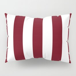 Rosewood red - solid color - white vertical lines pattern Pillow Sham