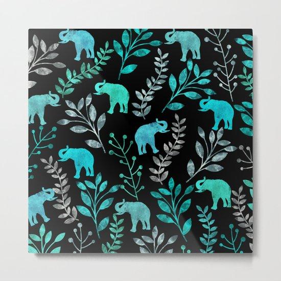 Watercolor Flowers & Elephants IV Metal Print