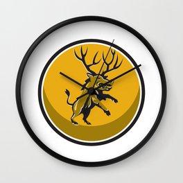 Razorback Antlers Prancing Circle Retro Wall Clock