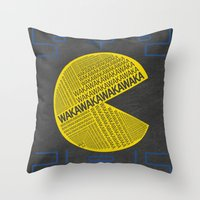 pac man Throw Pillows featuring Pac-Man Typography by Kody Christian