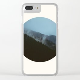 Mid Century Modern Round Circle Photo Graphic Design Slanted Pine Hill Silhouette Clear iPhone Case