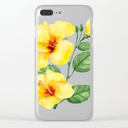 Yellow hibiscus tropical flowers design Clear iPhone Case