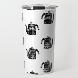Kettle linocut black and white kitchen appliance coffee and tea water ketle Travel Mug