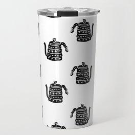 Kettle linocut black and white kitchen appliance coffee and tea water ketle Travel Mug