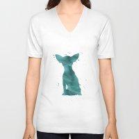 chihuahua V-neck T-shirts featuring Chihuahua by Carma Zoe