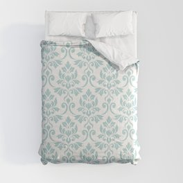 Feuille Damask Pattern Duck Egg Blue on White Comforters
