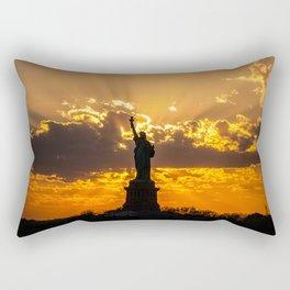 Statue of Liberty sunset in New York Harbor Rectangular Pillow