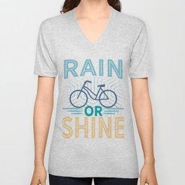 Rain or shine | Bike print | Cycling art Unisex V-Neck