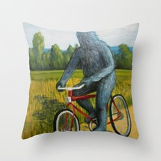 On A F___ing Bike Throw Pillow