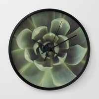 succulent Wall Clocks featuring Succulent by Andrea Hurley