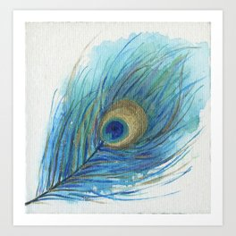 Colorful Peacock Feather Acrylic Painting  Art Print