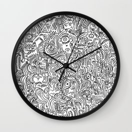 Primitive Art in Black and white pattern Wall Clock