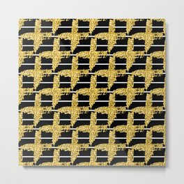 Gold glitter plaid on white stripes abd black background Metal Print