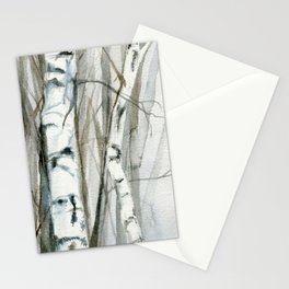 Winter Birch Trees Woodland Watercolor Original Art Print Stationery Cards