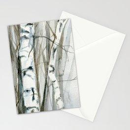 Winter Birch Trees Woodland Watercolor Original Art Print Stationery Cards